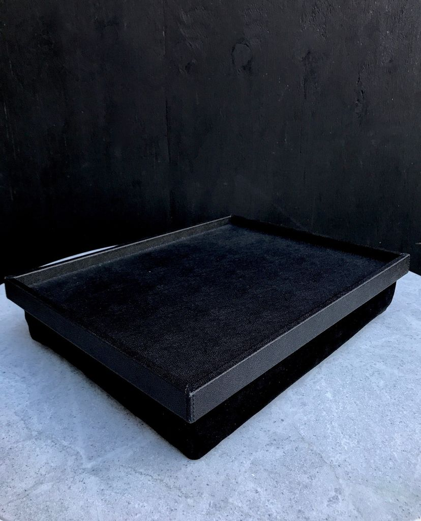 B.Home Interiors Teddy Bed Tray - Printed calfskin leather - Black with Black Stitching - 44.5x34x8cm