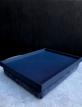 B.Home Interiors Teddy Bed Tray - Printed calfskin leather - Royle Blue with Blue Stitching - 44.5x34x8cm