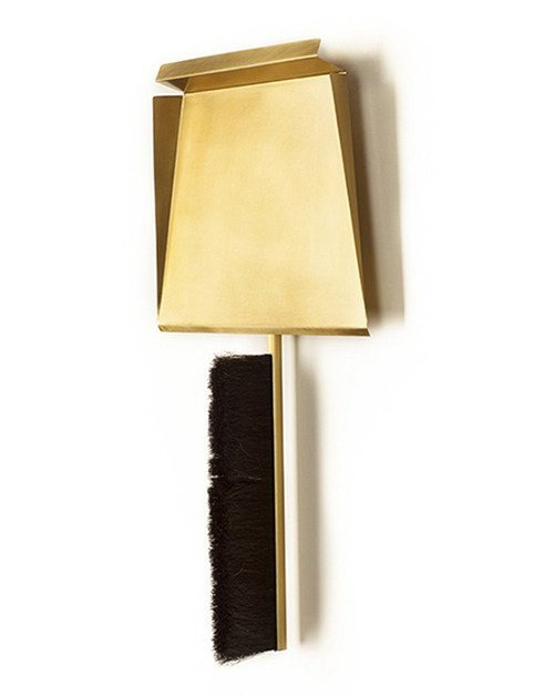 gentner Gentner Design - Sweep<br />- Brass and Horsehair<br />Dustpan, Brush, and Peg - 8&quot; x 7&quot; with 14&quot; x 2.5&quot;