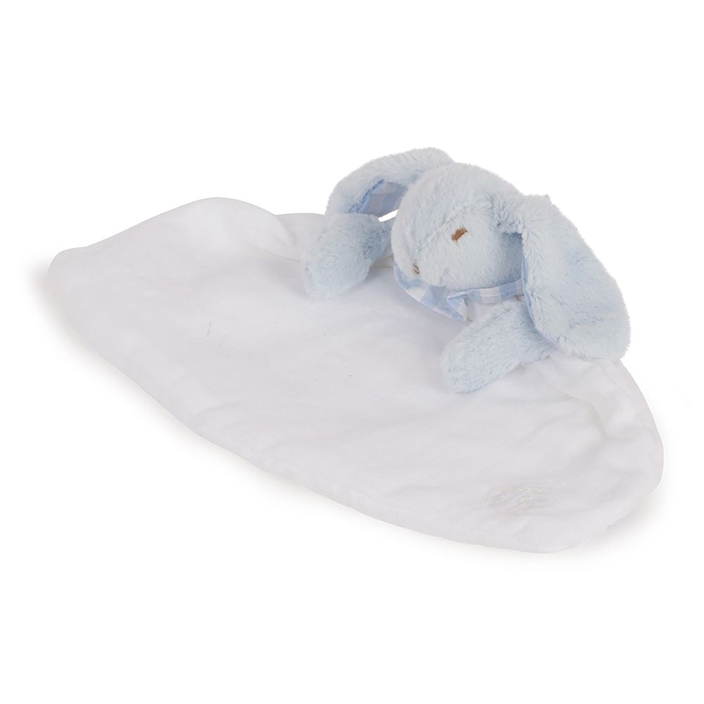 tartine et chocolate Tartine et Chocolat - Rabbit Comforter Blanket - ecru with blue trim