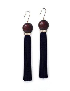 Studio Elke - Tremble Tassel Earrings - Split Rose Resin Bead with Black Tassel