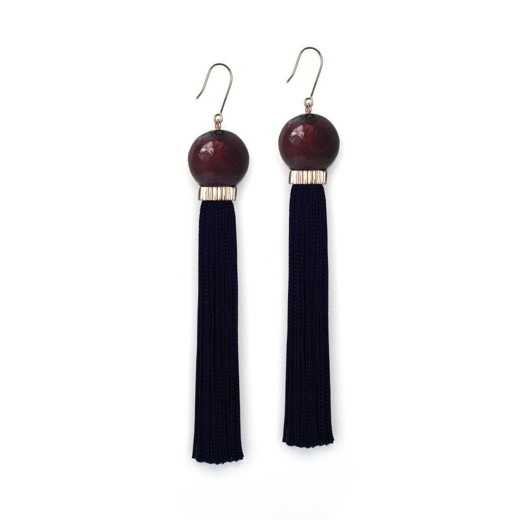 Studio Elke - Tremble Tassel Earrings - Split Rose Resin Bead with Black Tassel - Solid Rose Gold Hook