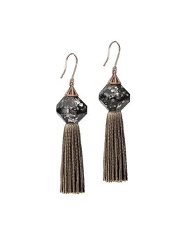 Studio Elke - Mythical Tassel Earrings - Luxe Faceted Resin with Charcoal Tassel - Solid Rose Gold Hook