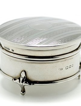 Sterling Silver Round Trinket Box with Hinged Lid - Engine Turned Detail and a Blue Velvet Interior - Hallmarked 1929