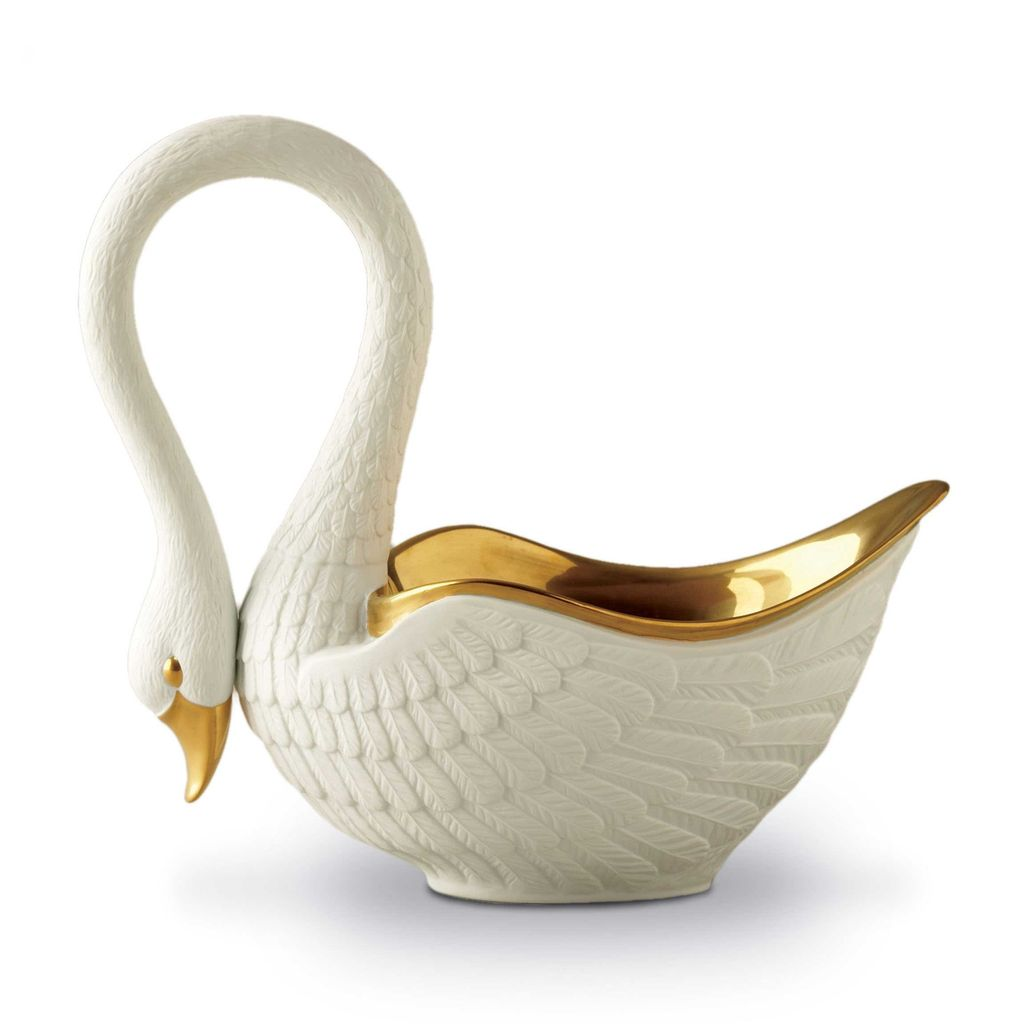 L'Objet L'Objet - Grand Swan Bowl - White - Porcelain 24ct gold plated - 36x33cm