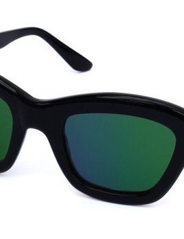 Nick Campbell Eyewear - Chloe Sunglasses - Black with Green Mirror Lenses