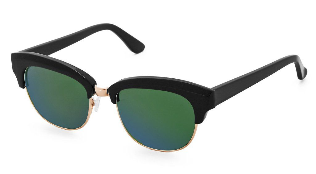 Nick Campbell Eyewear - Miki Sunglasses - Black with Rose Gold and Mirrored Green Lenses.