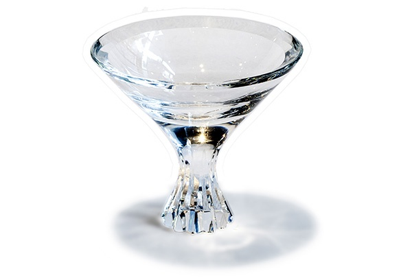 BECKER MINTY BECKER MINTY - Crystal Glass Martini Glass or Dessert Bowl with Linear Cut Design - Clear