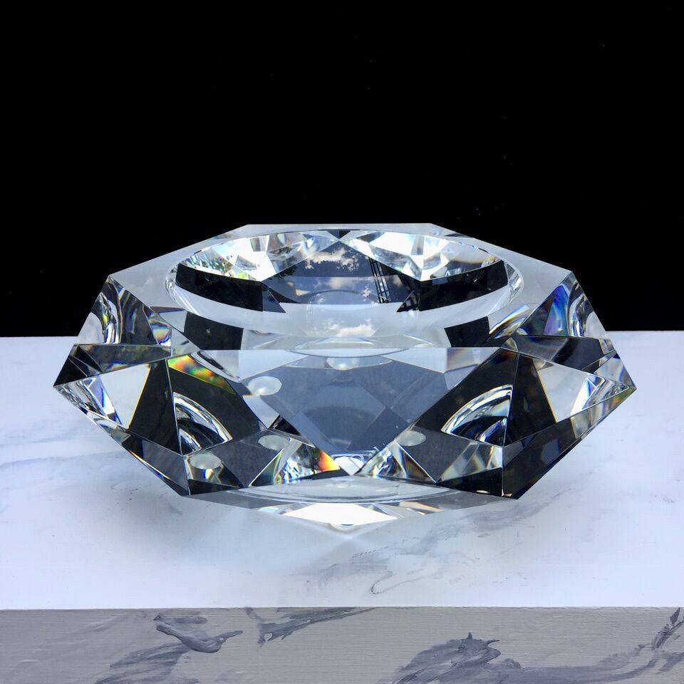 BECKER MINTY BECKER MINTY - Crystal Glass Bowl with Faceted Edges - Various Colours - Small D20cm