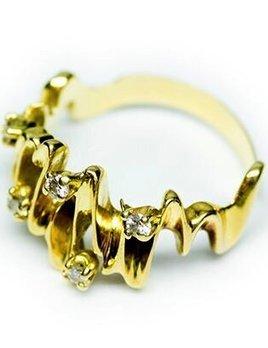 Vintage Diamond Dress Ring - 18ct Yellow Gold - Zig Zag with 5 Diamonds  c1970