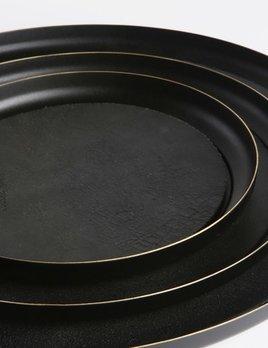 Michael Verheyden Small Tray - Michael Verheyden - Serve - Brass Tray Black Finish with Leather Mat - D23cm