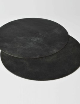 Michael Verheyden Michael Verheyden - Placemat XL - Large Round - Black Leather - 75cm - Belgium