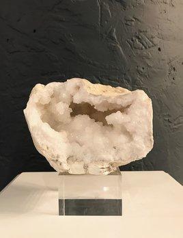 Quartz Half Geode on Acrylic Block D14cm