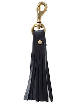 Lepaar Lepaar - Bolted Tassled Keyring - Black Kangaroo Leather - Solid Brass - 21x30cm