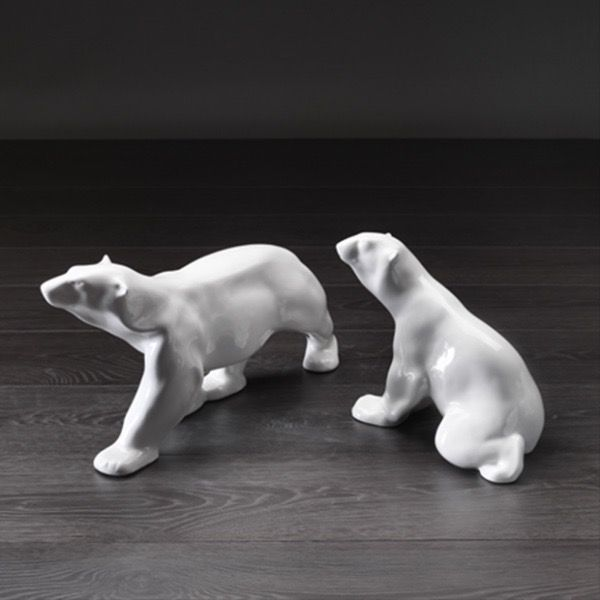 Home Ceramic Polar Bear Standing - Gloss White (LHS Image)
