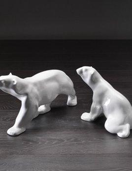 Home Ceramic Polar Bear Sitting - Gloss White (RHS Image)