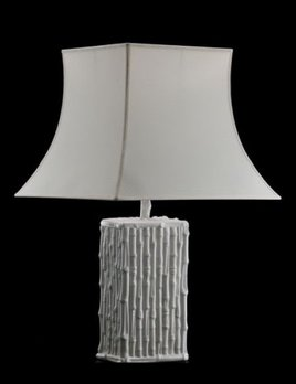 Home Ceramic Bamboo Table Lamp and Shade - Gloss White