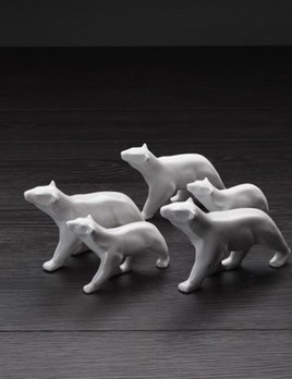 Home Ceramic Small Polar Bear - Gloss White H10xL16cm (Larger one in image)