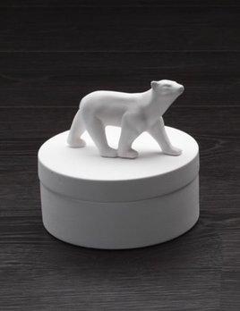 Home Ceramic Polar Bear Round Box - Medium - Gloss White - H14xD14cm