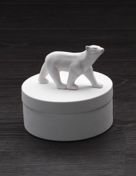 Home Ceramic Polar Bear Round Box - Large - Gloss White - H18.5xD18.5cm