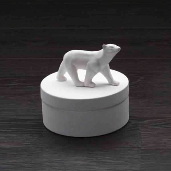 Home Ceramic Polar Bear Round Box - Large - Gloss White - H18.5xD18.5cm