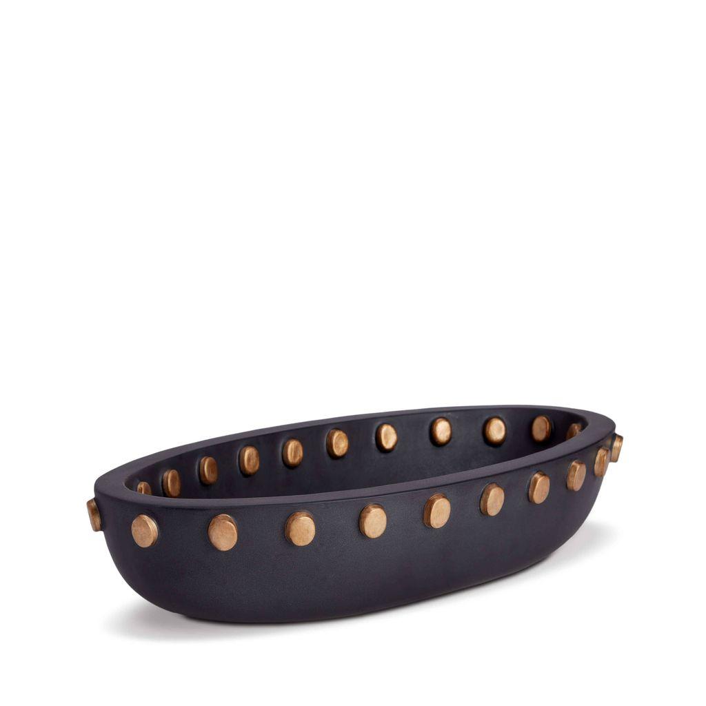 L'Objet L'Objet - Teo Oval Serving Bowl - Large - Black/Gold - 46 L x 23 W x 10 H cm
