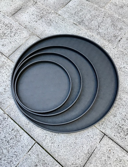 B.Home Interiors Round Polo Tray M - Printed Calfskin Leather with Black Stitching - Blk - 37.5cm