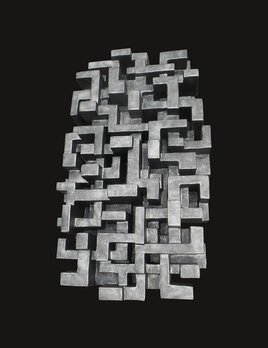 Shibuya - Dan Schneiger Geometric Wall Sculpture - Black / Gold Resin Coated Recycled Materials - 61x122cm