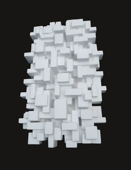 Shinjuku - Dan Schneiger Geometric Wall Sculpture - White Resin Coated Recycled Materials - 61x122cm