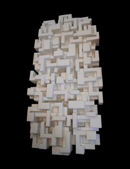Metropolis - Dan Schneiger Geometric Wall Sculpture - White Resin Coated Recycled Materials - 122x245cm