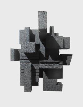 Dan Schneiger Haiku 3.2 - Dan Schneiger Geometric Wall Sculpture - Black Rubber - 20.5x25.5cm