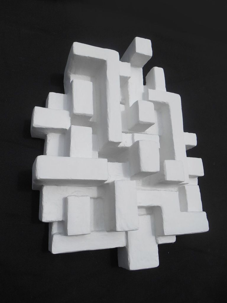Villa II - Dan Schneiger - Geometric Wall Sculpture - White Resin Coated Recycled Materials - 41x51cm