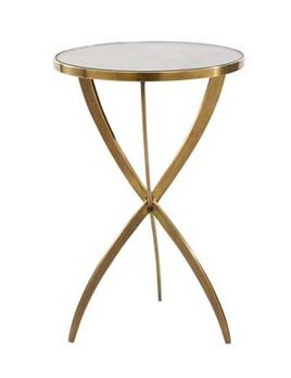 N/A Solid Brass Tripod Side Table - H60xD41cm