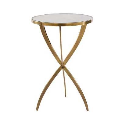 N/A Solid Brass Tripod Side Table - H60xD41cm