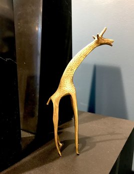 B.M.V.A. Vintage Brass Screaming Giraffe - H17cm