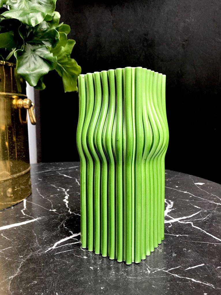 B.M.V.A. Vintage Green Spagetti Ceramic Vase - H21x10cm - Italy c1970