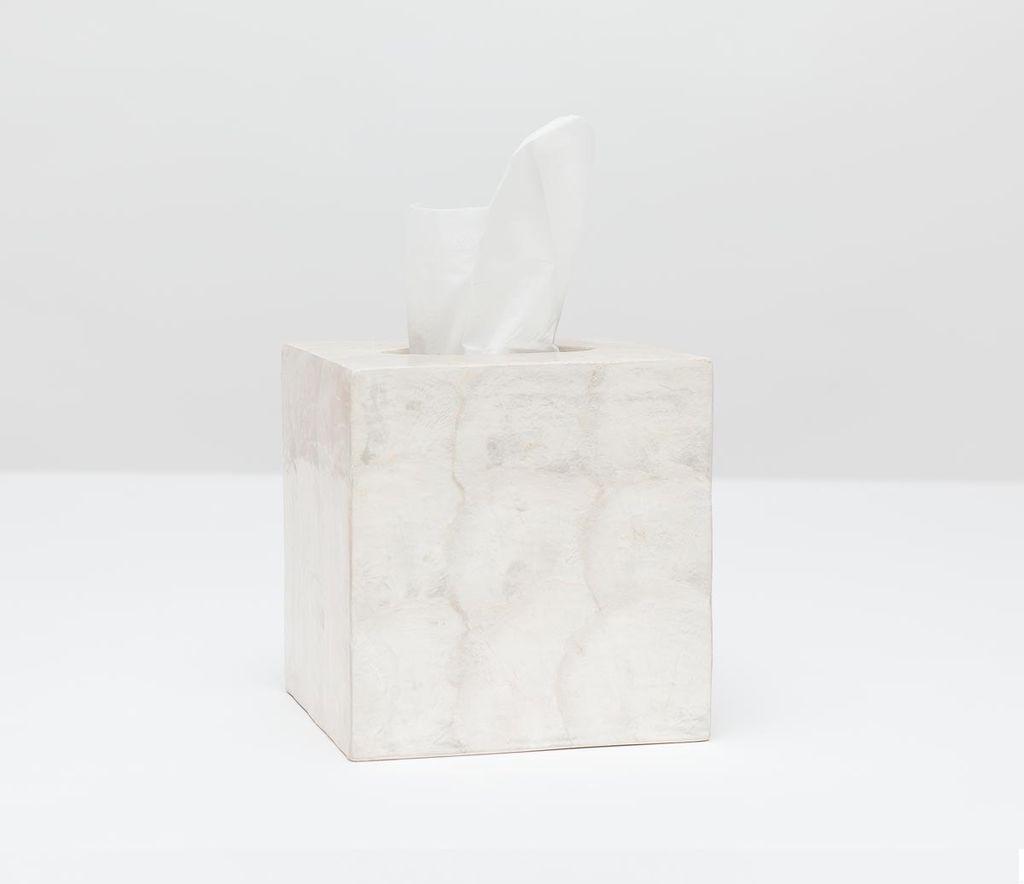 """Andria - Tissue Box - Square - 5.5""""L x 5.5""""W x 6""""H - Pearlized"""