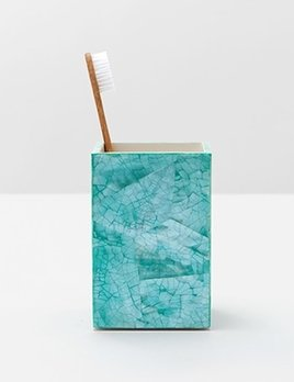 "Mahe - Brush Holder - Straight - 3.5""L x 3.5""W x 5""H - Turquoise Hammer Shell"