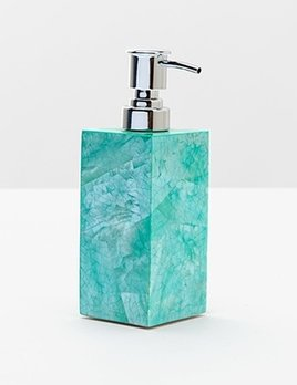 "Mahe - Soap Pump - 2.5"" x 2.5"" x 6""  - Turquoise Hammer Shell"