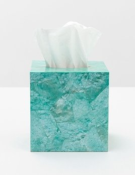 "Mahe - Tissue Box - Square - 5.5""L x 5.5""W x 6""H - Turquoise Hammer Shell"