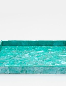 "Mahe - Tray Rectangular - Straight - Medium - 10.5"" x 6"" x 1"" - Turquoise Hammer Shell"