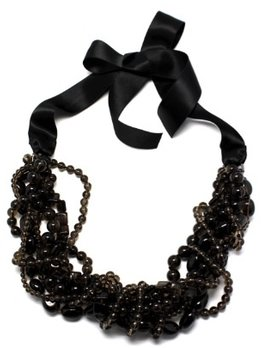 ALI - Multi Strand Smoky Quartz Twist Necklace on a Black Satin Ribbon - Annie Campbell exclusively designed for Becker Minty - Australia