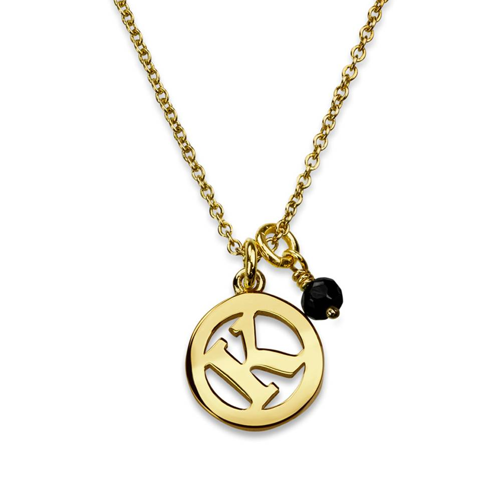 Me & My Initial Necklace with Black Spinel by Luke Rose