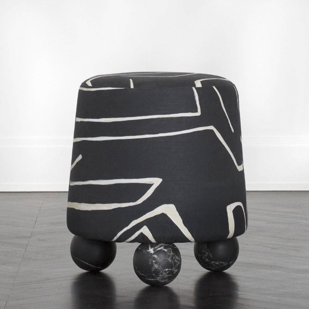 Kelly Wearstler Kelly Wearstler - Selma Stool - Graphito Onyx