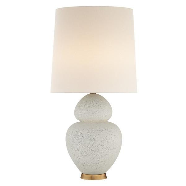 AERIN - Michelena Table Lamp - Chalk White Ceramic with Linen Shade