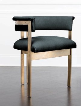 Kelly Wearstler Kelly Wearstler - Elliot Chair - Burnished Brass - Lagoon Leather