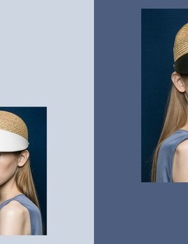 BLANC BLANC - Leather Straw Cap - Size 58 - Natural
