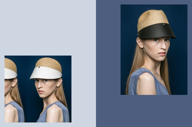BLANC BLANC - Leather Straw Cap - Size 58 - Black