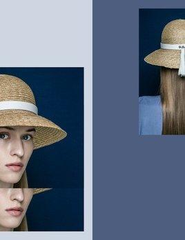 BLANC BLANC - Floppy Straw Hat with Tassle - Size 58 - White