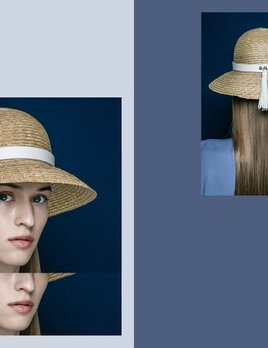 BLANC BLANC - Floppy Straw Hat with Tassle - Size 56 - White